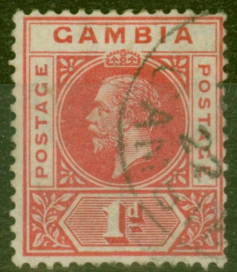 Valuable Postage Stamp from Gambia 1921 1d Carmine-Red SG109 Fine Used