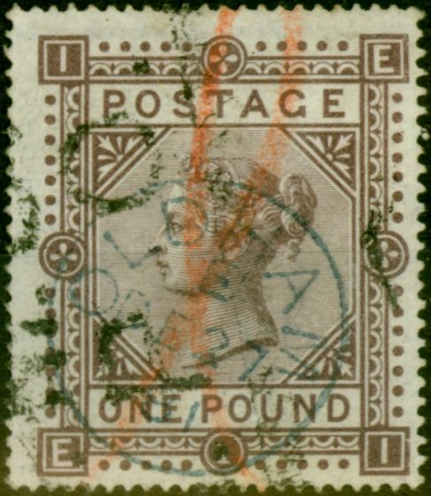 Old Postage Stamp from GB 1878 £1 Brown-Lilac SG129 Fine Used 'Oldham E DE 27 81' CDS