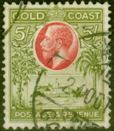 Collectible Postage Stamp from Gold Coast 1928 5s Carmine & Sage-Green SG112 Fine Used