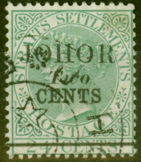 Rare Postage Stamp from Johore 1891 2c on 24c Green SG18 Type 18 Superb Used
