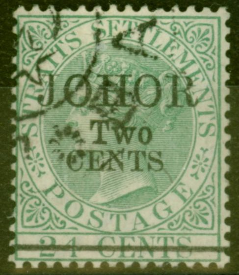 Rare Postage Stamp from Johore 1891 2c on 24c Green SG20 Type 20 Superb Used