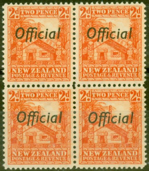 Valuable Postage Stamp from New Zealand 1938 2d Orange SG0123c P.14 V.F MNH Block of 4
