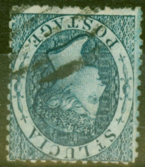 Rare Postage Stamp from St Lucia 1863 (4d) Indigo SG7var Wmk Inverted & Reversed Unlisted Scarce