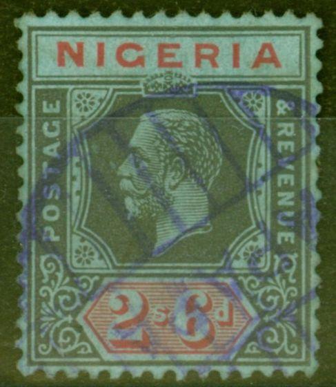 Old Postage Stamp from Nigeria 1925 2s6d Black & Red-Blue SG27 Die II Fine Used Parcel Cancel..