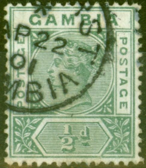 Old Postage Stamp from Gambia 1898 1/2d Dull Green SG37b Repaired S Fine Used Scarce