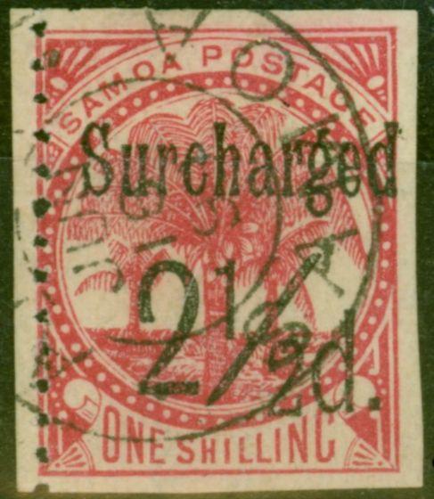 Rare Postage Stamp from Samoa 1898 2 1/2d on 1s Dull Rose-Carmine SG86var Imperf 3 Sides Fine Used