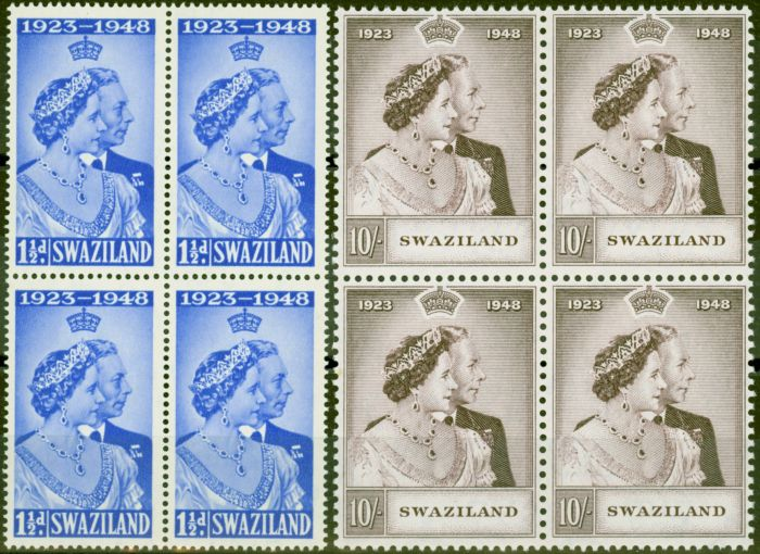 Rare Postage Stamp from Swaziland 1948 RSW set of 2 SG46-47 in V.F MNH Blocks of 4