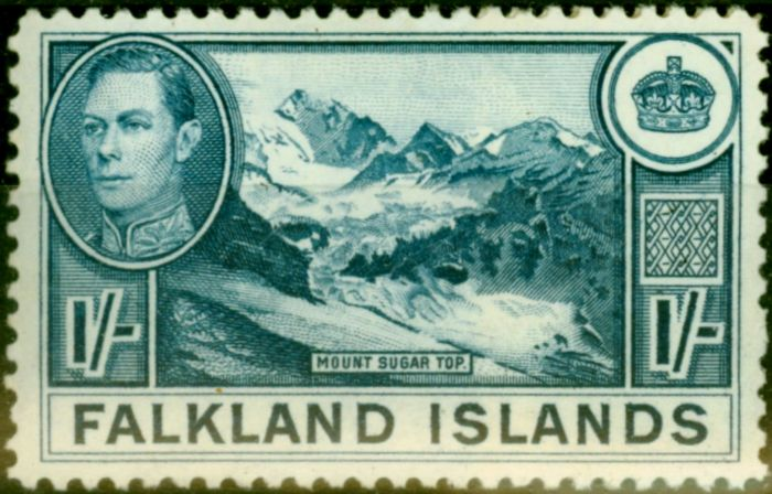 Rare Postage Stamp from Falklands Islands 1938 1s Dull Greenish Blue SG158a Very Fine MNH