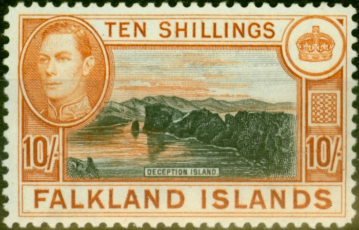 Collectible Postage Stamp from Falklands Islands 1949 10s Black & Red-Orange SG162b Very Fine MNH