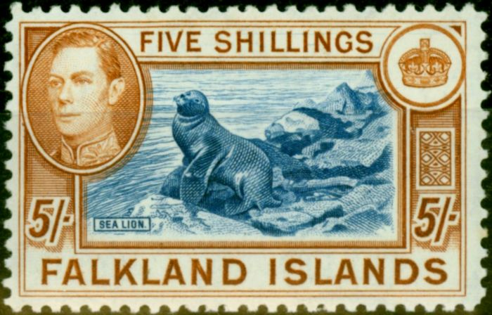 Rare Postage Stamp from Falklands Islands 1949 5s Dull Blue & Yellow-Brown SG161c Very Fine MNH (2)