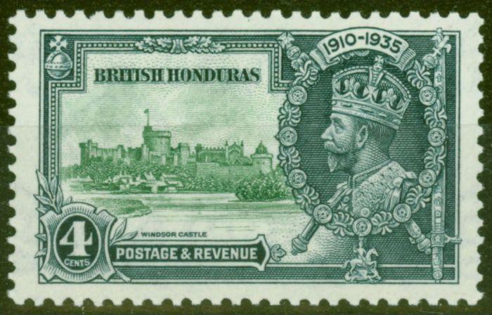 Valuable Postage Stamp from British Honduras 1935 4c Green & Indigo SG144c Lightning Conductor V.F MNH