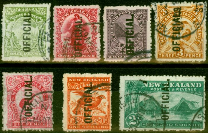 Rare Postage Stamp from New Zealand 1907 Official Set of 7 to 2s SG059-066 Fine Used