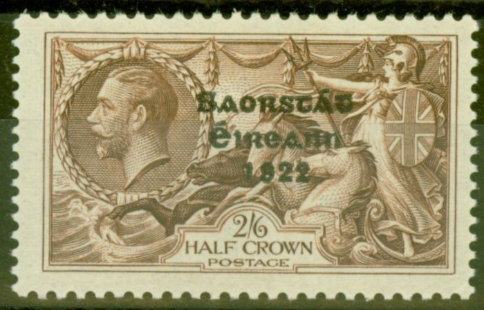 Old Postage Stamp from Ireland 1935 2s6d Chocolate SG99a Flat Accent over A Fine MNH Ex-SirRon Brierley