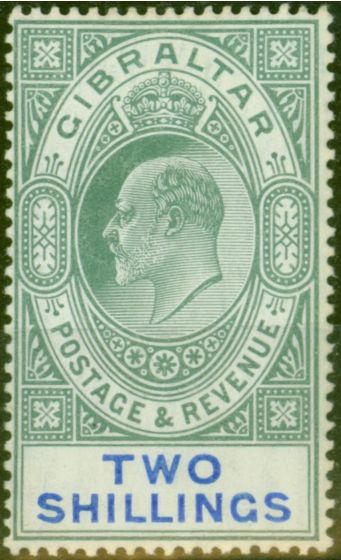Valuable Postage Stamp from Gibraltar 1903 2s Green & Blue SG52 Fine & Fresh Lightly Mtd Mint