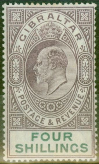 Collectible Postage Stamp from Gibraltar 1903 4s Dull Purple & Green SG53 Fine & Fresh Lightly Mtd Mint (3)