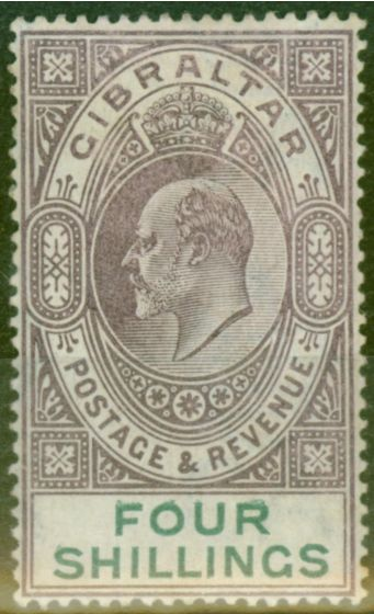 Valuable Postage Stamp from Gibraltar 1903 4s Dull Purple & Green SG53 Fine & Fresh Lightly Mtd Mint (4)