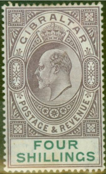 Rare Postage Stamp from Gibraltar 1903 4s Dull Purple & Green SG53 Fine & Fresh Lightly Mtd Mint (5)