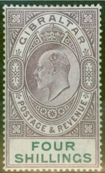 Rare Postage Stamp from Gibraltar 1903 4s Dull Purple & Green SG53 Fine & Fresh Lightly Mtd Mint