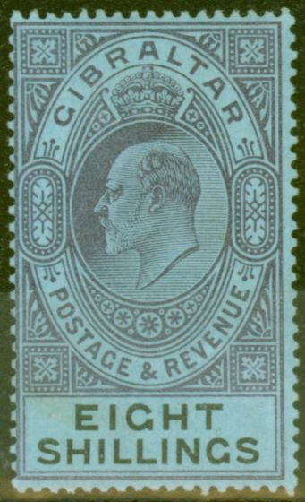 Rare Postage Stamp from Gibraltar 1903 8s Dull Purple & Black-Blue SG54 Fine & Fresh Lightly Mtd Mint (10)