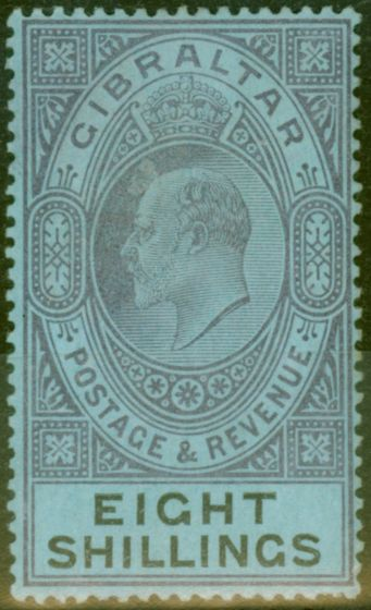 Old Postage Stamp from Gibraltar 1903 8s Dull Purple & Black-Blue SG54 Fine & Fresh Lightly Mtd Mint (10)