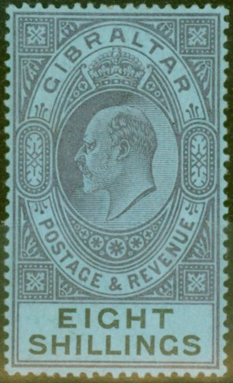 Collectible Postage Stamp from Gibraltar 1903 8s Dull Purple & Black-Blue SG54 Fine & Fresh Lightly Mtd Mint (12)