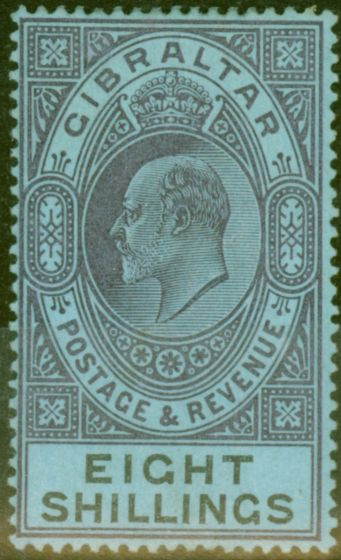 Rare Postage Stamp from Gibraltar 1903 8s Dull Purple & Black-Blue SG54 Fine & Fresh Lightly Mtd Mint (13)