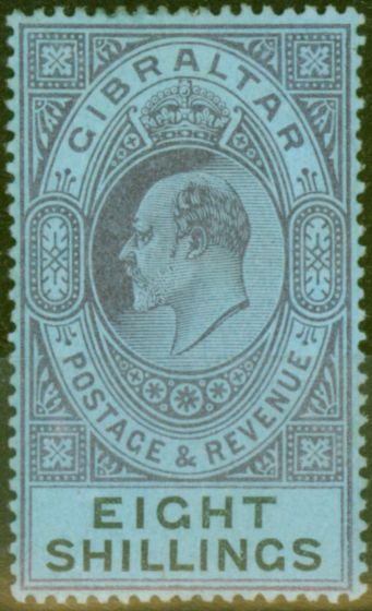 Collectible Postage Stamp from Gibraltar 1903 8s Dull Purple & Black-Blue SG54 Fine & Fresh Lightly Mtd Mint (14)