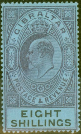 Collectible Postage Stamp from Gibraltar 1903 8s Dull Purple & Black-Blue SG54 Fine & Fresh Lightly Mtd Mint (15)