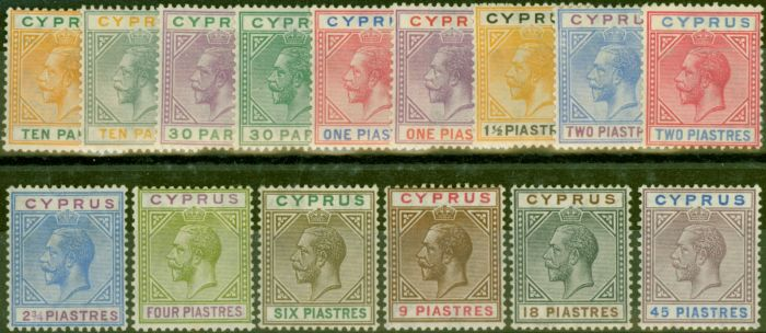 Rare Postage Stamp from Cyprus 1921-33 set of 15 SG85-99 V.F Very Lightly Mtd Mint