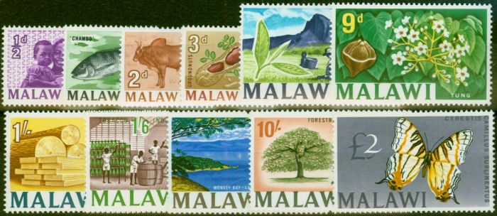 Collectible Postage Stamp from Malawi 1966-67 Set of 11 SG252-262 Very Fine MNH