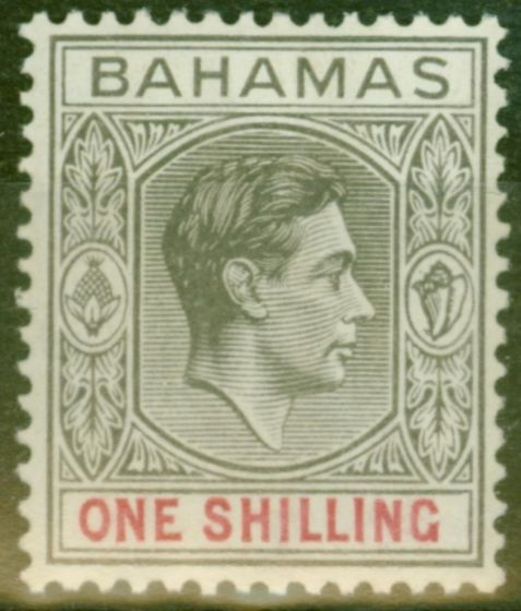 Collectible Postage Stamp from Bahamas 1938 1s Grey-Black & Carmine SG155 Thick Paper Fine Very Lightly Mtd Mint