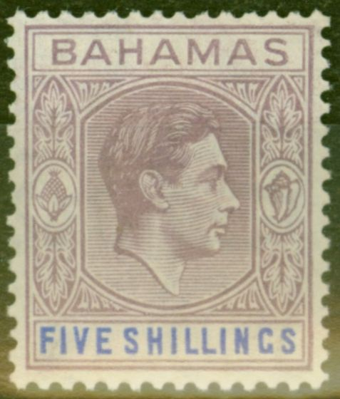 Old Postage Stamp from Bahamas 1938 5s Lilac & Blue SG156 Fine MNH
