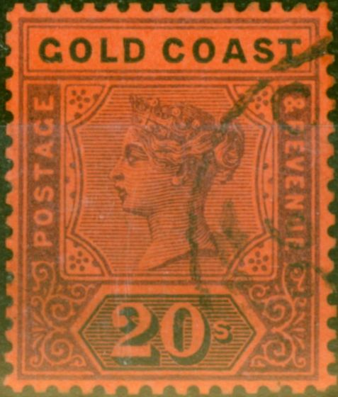 Collectible Postage Stamp from Gold Coast 1889 20s Dull Mauve & Black-Red SG25 Fine Used