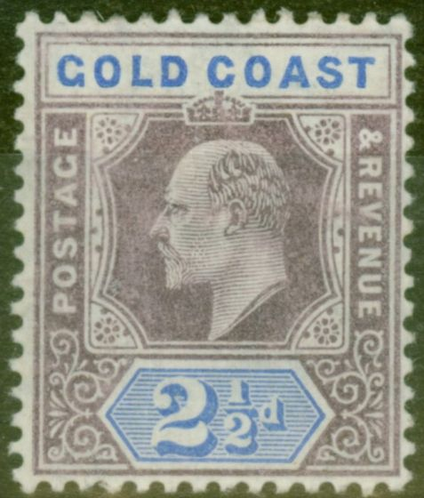 Old Postage Stamp from Gold Coast 1906 2 1/2d Dull Purple & Ultramarine SG52 Fine Lightly Mtd Mint
