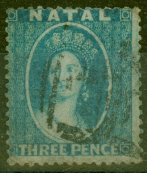 Old Postage Stamp from Natal 1859 3d Blue SG10 Fine Used.