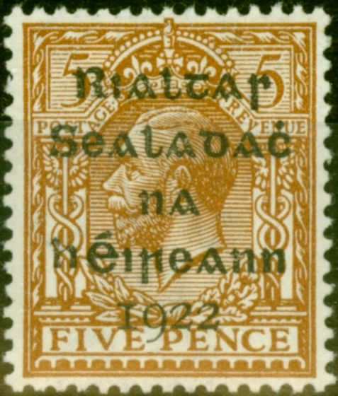 Rare Postage Stamp from Ireland 1922 5d Yellow-Brown SG38 Very Fine MNH
