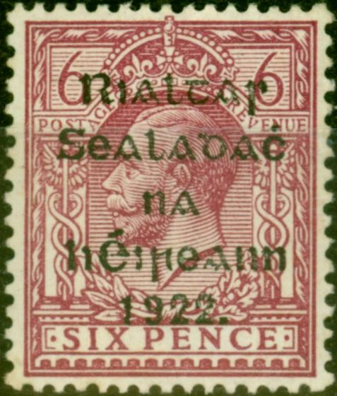 Collectible Postage Stamp from Ireland 1922 6d Reddish Purple SG14 Fine Lightly Mtd Mint