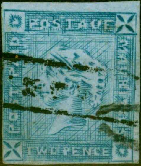 Mauritius 1859 2d Blue SG39 Worn Impression Fine & Fresh Used