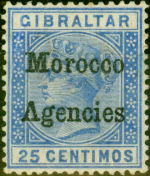 Old Postage Stamp from Morocco Agencies 1898 25c Ultramarine SG4a Inverted V for A Good Mtd Mint