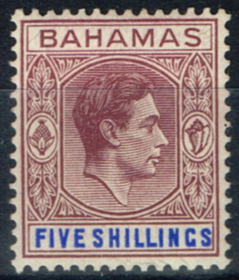 Valuable Postage Stamp from Bahamas 1946 5s Dull Mauve & Dp Blue SG156c Fine Mtd Mint