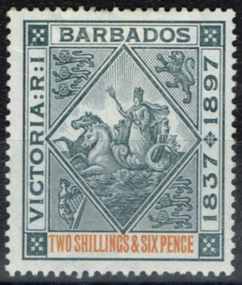 Collectible Postage Stamp from Barbados 1897 2s6d Blue-Black & Orange SG124 Fine Mtd Mint