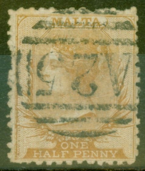 Valuable Postage Stamp from Malta 1868 1/2d Buff-Brown SG14 P.12.5 Rough Perf Fine Used