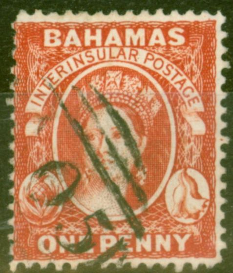 Valuable Postage Stamp from Bahamas 1882 1d Scarlet-Vermilion SG42 P.14 Fine Used