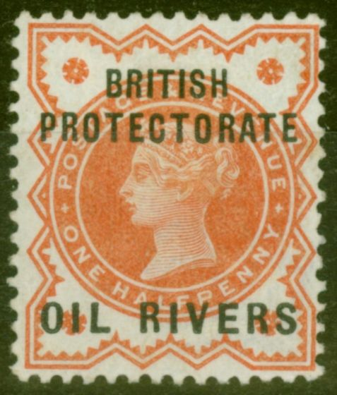 Rare Postage Stamp from Oil Rivers 1892 1/2d Vermilion SG1 Fine Mtd Mint