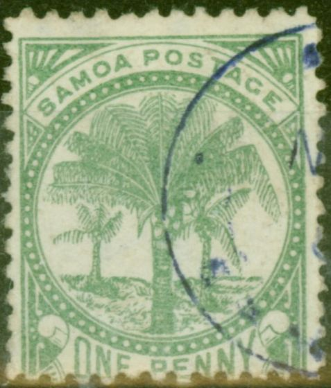Collectible Postage Stamp from Samoa 1886 1d Yellow-Green SG22 P.12.5 V.F.U