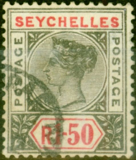 Valuable Postage Stamp from Seychelles 1900 Lucien Smeets Forgery IR50 Grey & Carmine SG35 Altered from a Ceylon Stamp Rare