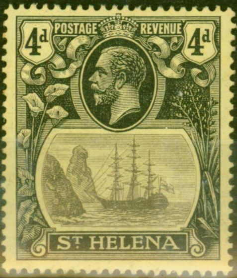Valuable Postage Stamp from St Helena 1923 4d Grey & Black-Yellow SG92b Torn Flag V.F Mtd Mint