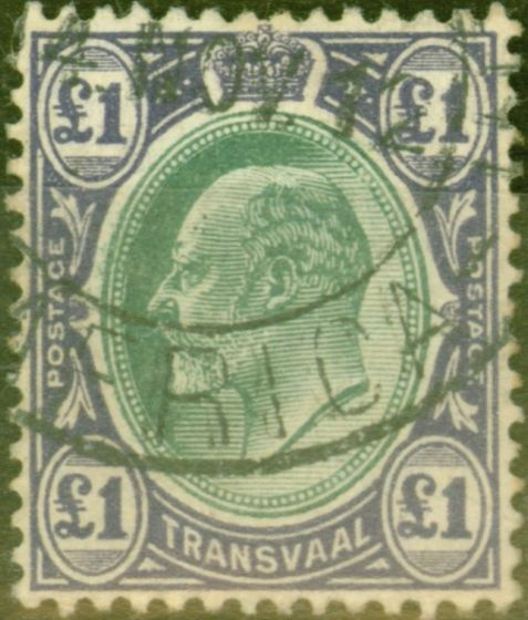Rare Postage Stamp from Transvaal 1908 £1 Green & Violet SG272 Fine Used