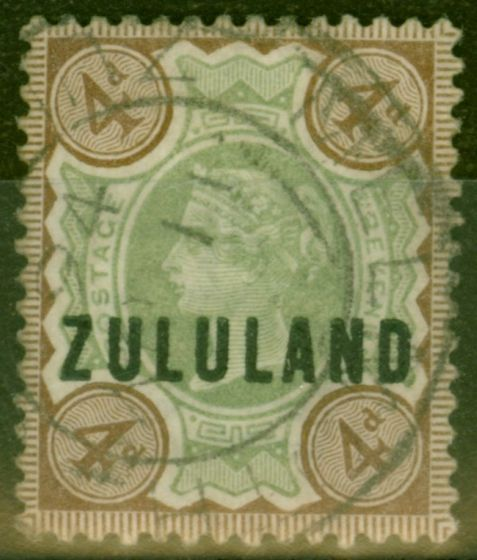 Collectible Postage Stamp from Zululand 1888 4d Green & Dp Grown SG6 Good Used