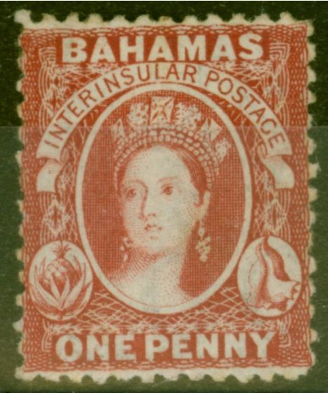 Collectible Postage Stamp from Bahamas 1863 1d Carmine-Lake SG21  Fine & Fresh Lightly Mtd Mint